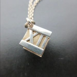 Tiffany & Co. Jewelry - Tiffany & Co. Silver Atlas Cube Necklace with bag